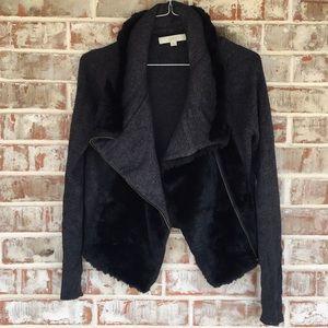 LOFT Wool & Rabbit Hair Asymmetrical ZIP Sweater S